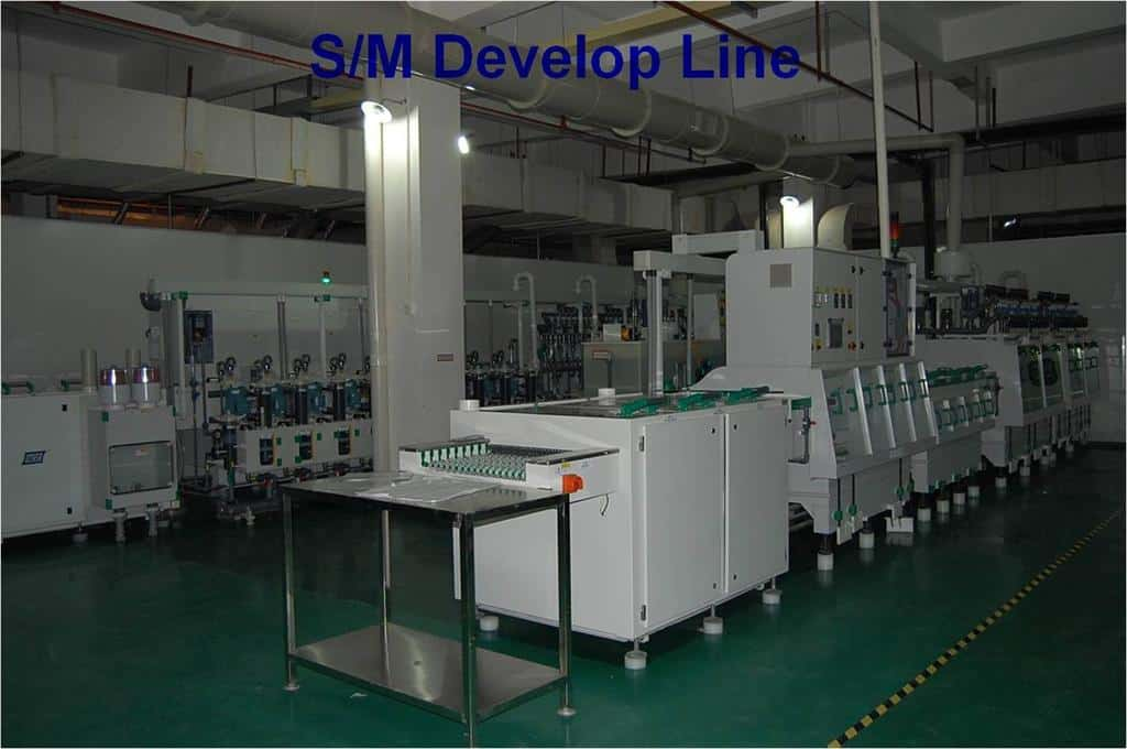 PCB solder mask develop line
