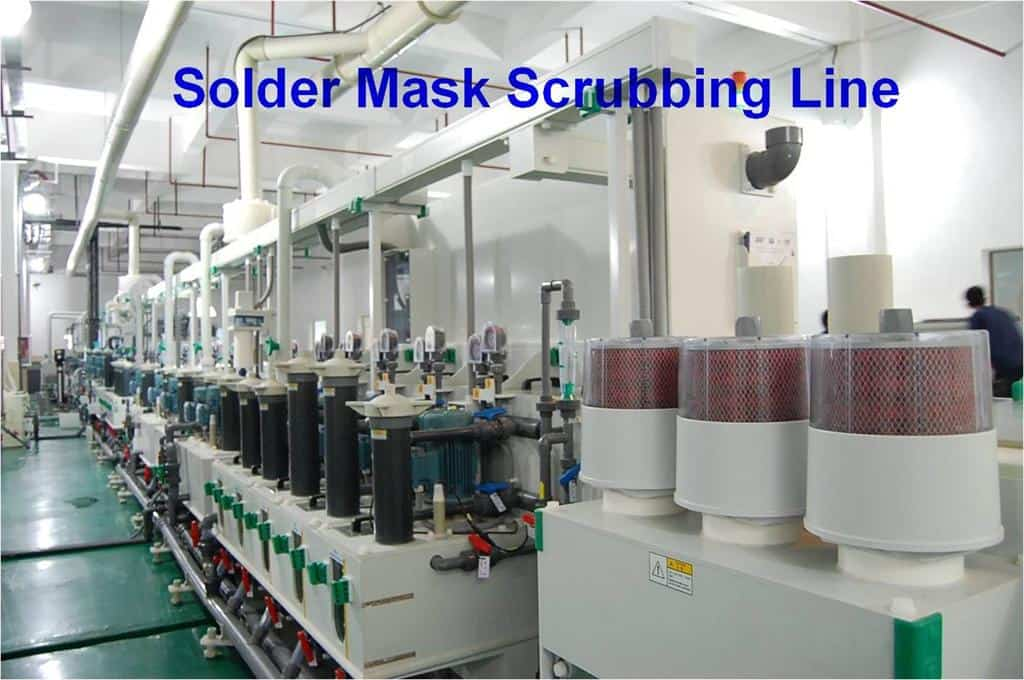 solder mask scrubbing line