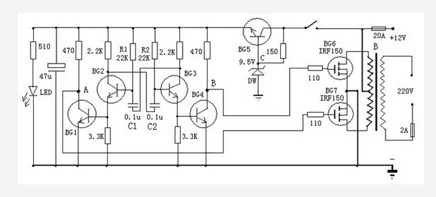 the schematic diagram of dual 12v output transistor inverter
