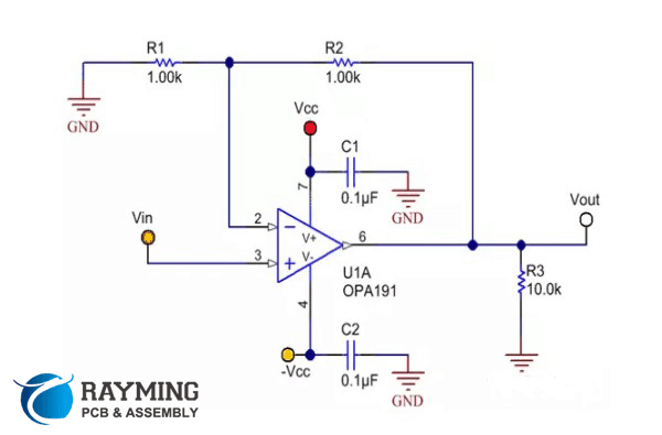 OPA191 schematic with non-inverting configuration OPA191 schematic