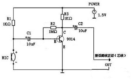 Schematic diagram of electret microphone working principle