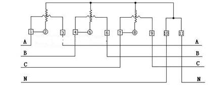 Three-phase Watt-hour Meter Schematic Diagram