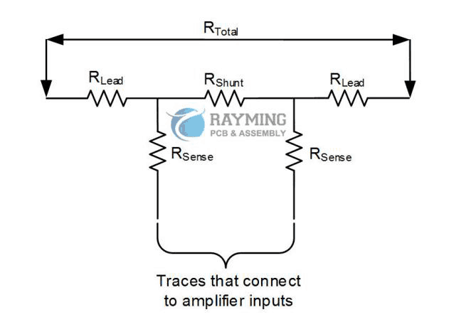 Stray resistance (RLead and RSense) connected to a two-terminal shunt resistor