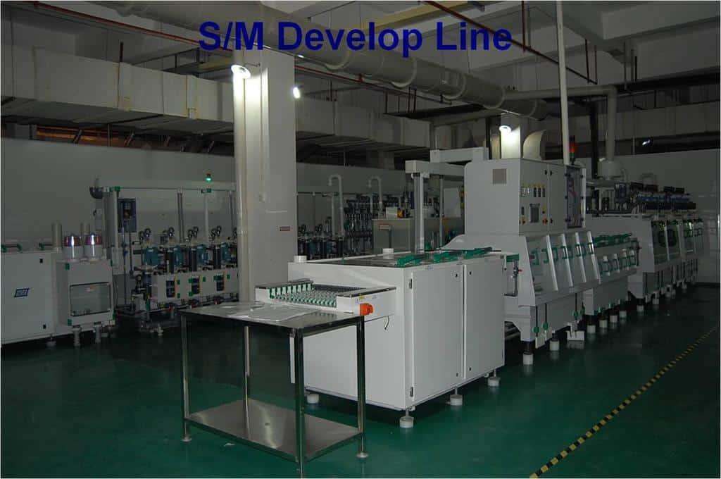 PCB solder mask develop line