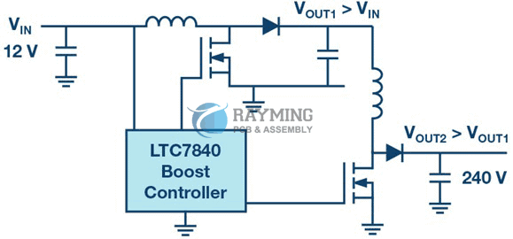 Two-stage concept for generating very high output voltages from low input voltages