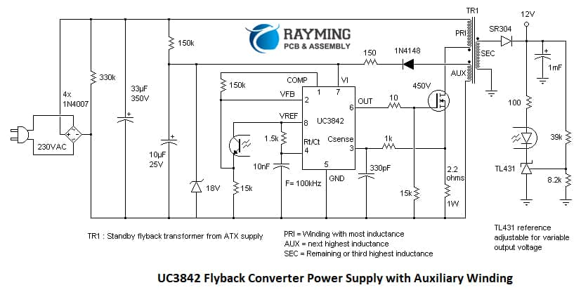 Circuit Diagram of Flyback SMPS: